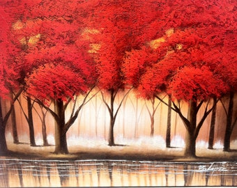 """RED TREE FORREST - Original Oil Painting - 24"""" x 36"""" Mounted"""