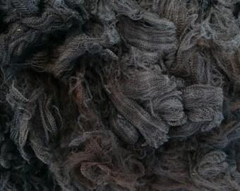 HOODIE, Dark Chocolate with Grey Mix Coloured Merino Fleece, Coated, Raw Wool, Australian Merino, 18.9 Micron, Unprocessed, 250 Gram Bags