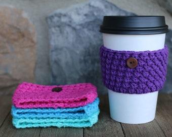 Buy 4 Get 1 FREE, Crochet Coffee Sleeve, Coffee Cup Sleeve. Hot Drink Holder, Coffee Cup Cover, Crochet Sleeve, Re-useable,Eco-friendly
