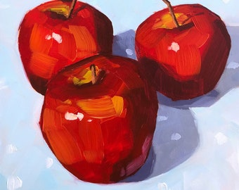 Still life painting- Gala - 6x6  Apple oil painting by Sharon Schock