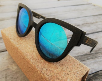 "Bamboo Sunglasses ""Crafted By FIGTREE"" --Black bamboo Frame--Ice Blue Lens--FREE SHIPPING within Australia"