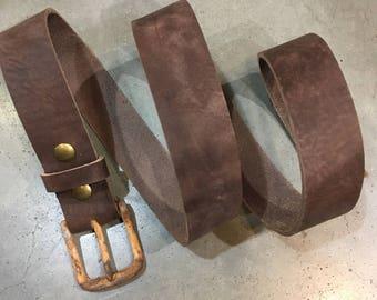Rustic brown bull hide belt, with rusted look buckle