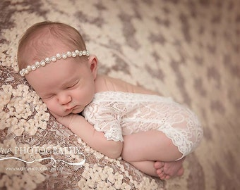 Newborn Lace Romper, Newborn Lace Photo Outfit, Newborn White Outfit, Lace Romper Baby, White Romper Baby, Newborn Prop Set, Newborn Girl