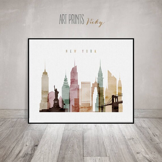 Great New York Wall Art, New York City Watercolor Poster, New York Skyline Art,  Cities Poster, Typography Art, Digital Watercolor ArtPrintsVicky.