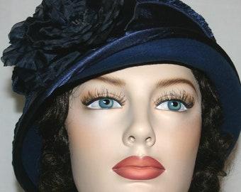 Navy Blue Kentucky Derby Hat, Flapper Hat, Cloche Hat, Downton Abbey Hat, Gatsby Hat, Edwardian Hat, Roaring Twenties - Madame Ronda
