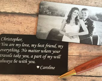 SALE! Engraved Picture Wallet Card - Photo Wallet Insert -Groom gift, Husband gift, Anniversary gift for Boyfriend, Anniversary gift for man