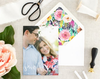 Save the Date Photo Card - Floral Save the Date - Photo Save the Date - Wedding  Announcement - Printed Save the Dates - Set of 10