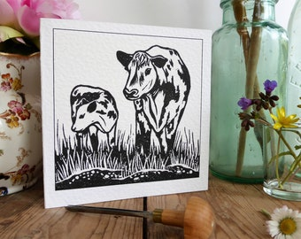 Cow and Calf in Meadow * greetings card * lino cut* black and white * nature lover * farm animals * countryside