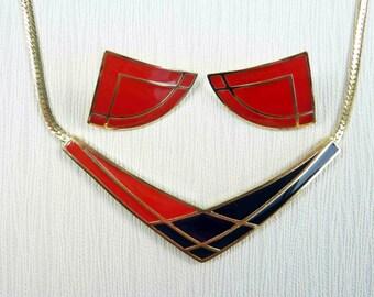 Triangle Necklace & Earring Set - Avon Color Splash - Avon Post Earrings - Avon Gold-tone Jewelry - Color Block Jewelry - Vintage Avon 1986
