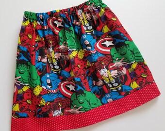 Girls Skirt with Superheroes Avengers Skirt Superhero Skirt with Hulk Thor Iron Man Spiderman Superhero Party Little Girl Skirts