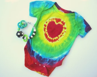 One-piece Bodysuit for Babies, Red Heart with Rainbow Ripples, Size 12 Months, Organic Cotton