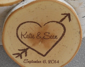 Personalized Rustic Wedding Favors Birch Coasters Hand Stamped and Finished - Set  of 50