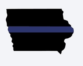 Iowa Police Support Decal/Thin Blue Line/Iowa Police Decal/Iowa Blue Line Decal/Police Lives Matter/Window Sticker/Tumbler Decal/Iowa Police