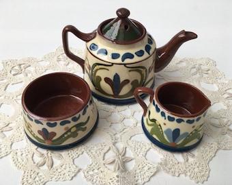 Vintage Longpark Pottery, Torquay Ware, Teapot, Sugar Bowl and Cream Jug, Motto Ware