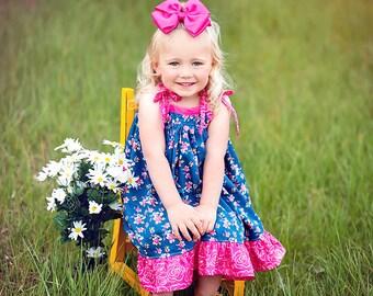 Summer dress, Sapphire Sun Dress, Blue floral dress, blue and pink dress, twirl dress, summer dress, sun dress, from Melon Monkeys