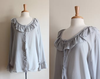 Vintage Sheer Pale Grey Oversize Ruffle Blouse