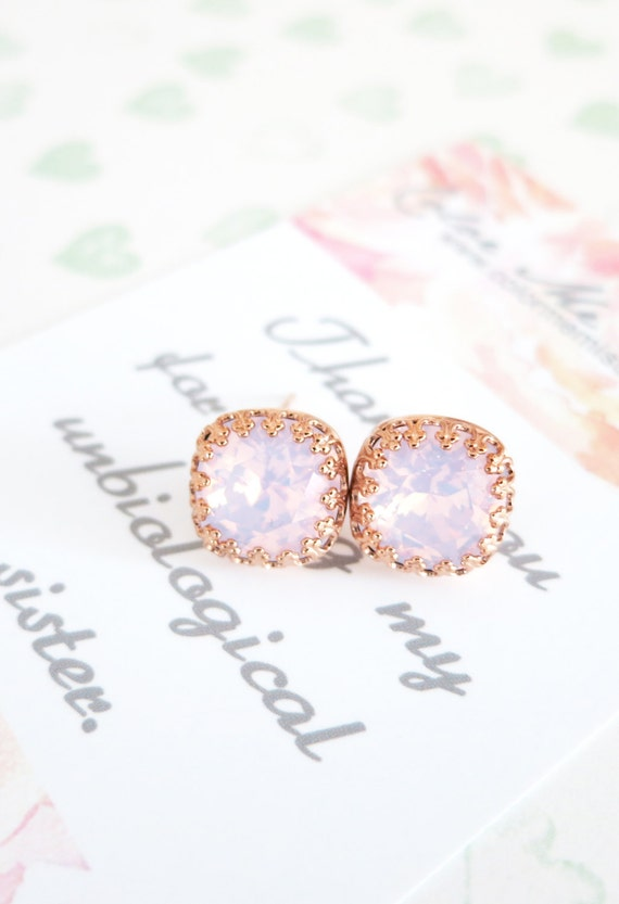 Emma - Swarovski Rose Water Opal light pink Crystal Bridal Post Stud Earrings Cushion Cut Square 10mm Wedding Bridesmaids Gifts E249 N179