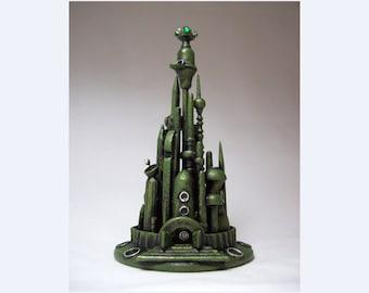 Mars Alien City Wedding Cake Topper Emerald Green Martian Towers Space Wood Sculpture