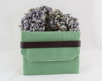 Soft green cosmetic storage bag / for purse / evening bag / chic and elegant fabric and leather case / green envelope pouch