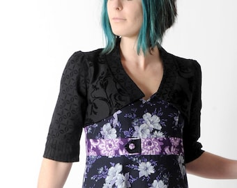 Black floral bolero, Bolero jacket in black floral fabric with mid-length sleeves, Shrugs and boleros, size FR 40 / UK 12, MALAM