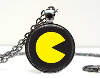 Pac Man Necklace : Glass Picture Pendant Photo Pendant Handcrafted Jewelry  (1548)