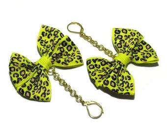 Earrings big bow in leopard, sleeper golden yellow fabric and chain