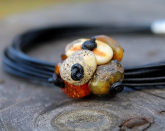 Tribal Necklace Black Leather Necklace Folk Jewelry Colors of Earth Summer Style Fashion Brown Yellow Orange Natural