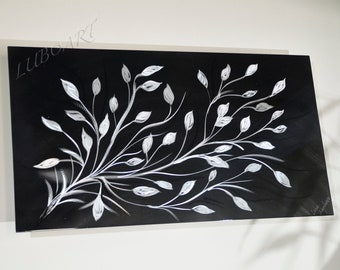 """24x13"""" black silver art home office modern wall decor original horizontal vertical METAL sculpture small artwork for gift hand made by Lubo"""