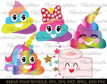 SVG, Eps, Dxf, Jpeg & Png Cutting Files For Emoji Poop Bundle, Cricut and Silhouette cutting machines,Digital INSTANT DOWNLOAD
