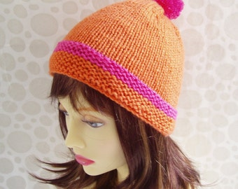 KNITTING PATTERN/ KYLIE/ Simple Beanie Hat with Pompom/Knit Straight/ Easy Girls Hat Pattern/Pompom Hat/Simple Hat Pattern/Girl hat Pattern