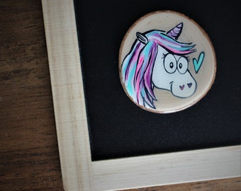 Unicorn magnet, refrigerator, table, end of the year, teacher gift, teacher, log, wood, handmade