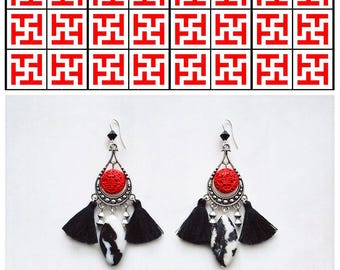 CGC028 - Ethnic chic silver earrings with red acrylic cinnabar, black and white jasper stones, black Swarovski crystals and black tassels.