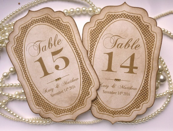Wedding Table Numbers Customized Table Numbers Vintage