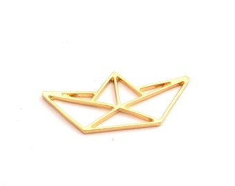 Charm origami boat gold color