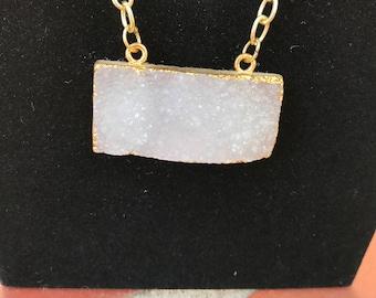 Druzy necklace ~Gold electroplated druzy necklace ~Gold druzy necklace ~pendant necklace