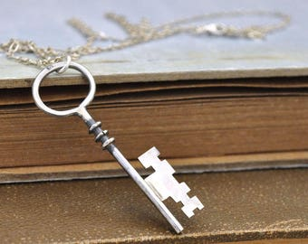 sterling silver key necklace, vintage key necklace, skeleton key charm, unlock my heart, key to my heart, gift for her,