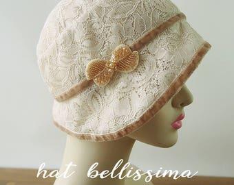 SALE  1920s Cloche Hat   Lace fabric Vintage Style hat hatbellissima Summer Hats