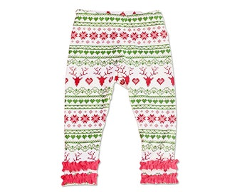 Christmas Leggings- Girl Christmas Pants- Fair Isle Leggings- Girls Leggings- Christmas Ruffle Pants- Girl Toddler Legging- Baby Boutique
