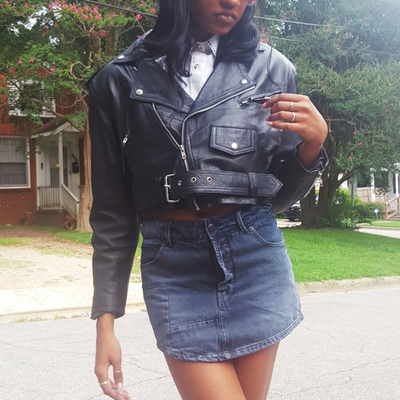 Black Vintage Leather Biker Jacket Medium Large - Moto Genuine Leather Layer Coat - Motorcycle Style Wilson's Leather Jacket
