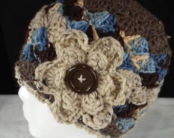 Hand Crocheted Chunky Yarn Adult Hat with Button Flower