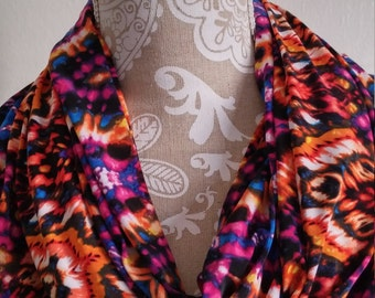 Batik jersey knit  Infinity Scarf , Woman scarves,  loop scarf, accessories, eternity scarf, accessories, fashion accessories