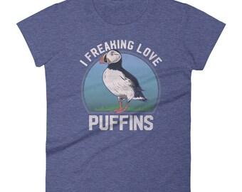 Women's Puffin TShirt, Puffin Gift, Atlantic Puffin, Bird shirt, Puffin Seabird, Bird Lover Shirt, Puffins Shirt, Bird Gift,Ladies Bird Gift