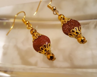 Goldstone earrings / brown earrings / golden earrings / glittering earrings /