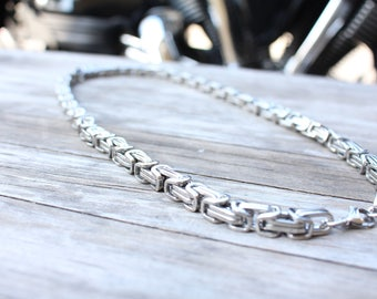 Mens Necklace Stainless Steel , Byzantine Chunky Chain Necklaces for Men , Thick Chain Necklace
