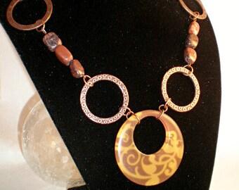 """27""""- Long Antique Copper Stone Necklace"""