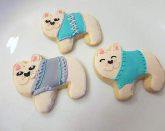 French Bulldog Cookies, Dog Cookies, Favors, Sugar Cookies, Bulldog, French Bulldog, Dog, Dog sweater, French, Frenchie