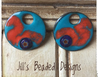 Enameled Copper Charms, Murrini Glass Charms, Blowing smoke