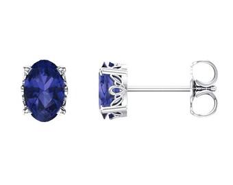 14K Gold Sapphire Earrings / Sapphire Gold Earrings Studs / Sapphire Earrings Vintage-Style