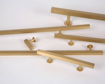 Brushed Brass Cabinet Knob  Style 31  Drawer Pulls And Cabinet Knobs