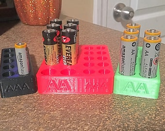 Battery Storage Holder AA & AAA for Shelf or Drawers (Different Size Options Available)